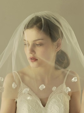 Cut Edge One-Layer Appliques Wedding Veil 2019