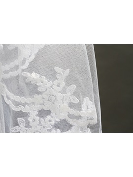 Glamorous 2 Layer Elbow Lace Wedding Bridal Veil