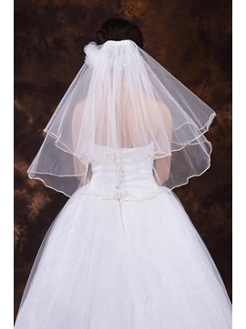 Simple Style Elbow Length Tulle Wedding Veil