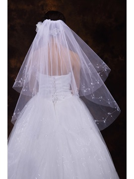 Elbow Wedding Veil With Beading Edge