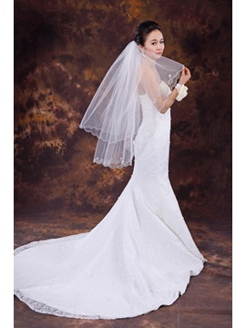 Stunning Two Layer Elbow Wedding Veil With Beads