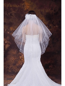 Elbow Length Beaded Wedding Veil