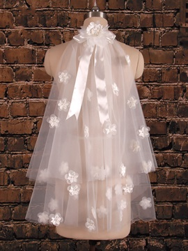 Flowers Tulle Satin Short Wedding Veil