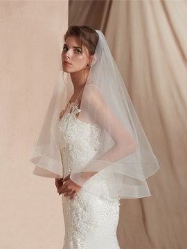 Simple Two-Layer Elbow Wedding Veil