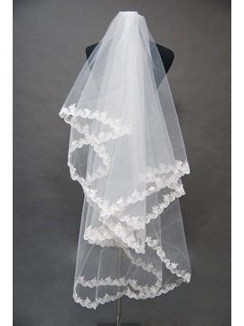 Elbow Style Wedding Bridal Veil with Applique Edge
