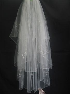 Classic Elbow Wedding Bridal Veil with Beaded Edge