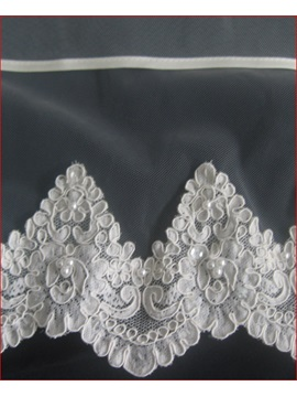 Gorgeous Elbow Wedding Bridal Veil with Lace Applique and Ribbon Edge