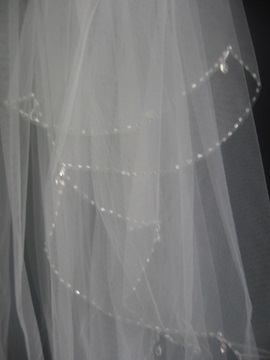 3 Layers Elbow Wedding Veil with Beaded Edge