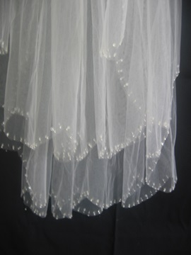 Charming Tidebuy Elbow Wedding Bridal Veil Pear Trim Edge