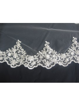 Graceful Elbow with Appliques Edge Wedding Bridal Veil