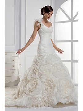 Dramatic Mermaid One-shoulder Chapel Train Flowers Wedding Dress