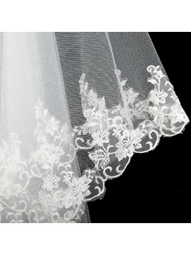 Greatest Elbow Wedding Veil With Lace Applique Edge