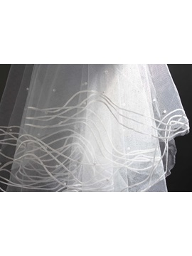 Wonderful Fingertip Wedding Veil with Pearls