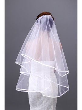 Elegant Tidebuy Elbow Bridal Veil with Satin Edge