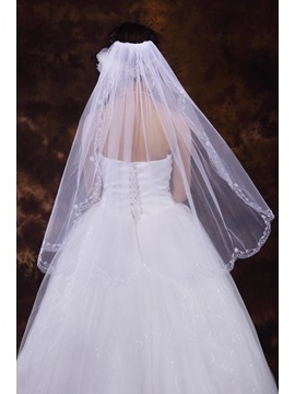 Enchanting Mid-Hip Length Tulle With Beading Wedding Veil
