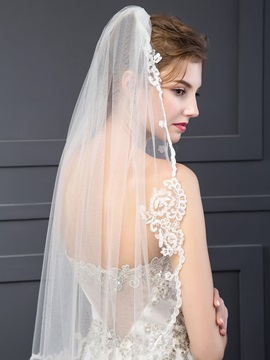 Charming Wedding Veil With Appliques Edge