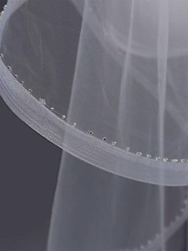 Pencil Edge Bead One-Layer Wedding Veil