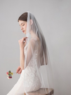 Lace Edge One-Layer Lace Fingertip Wedding Veil 2019