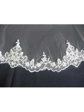 Fingertip Beaded Wedding Bridal Veil with Lace Flowery Edge