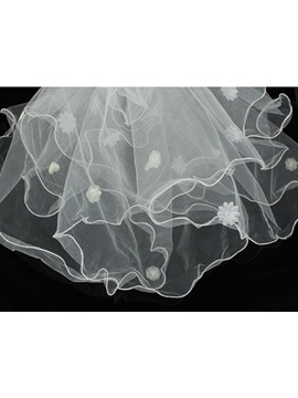 Exqusite Fingertip Wedding Bridal Veil with Flowers