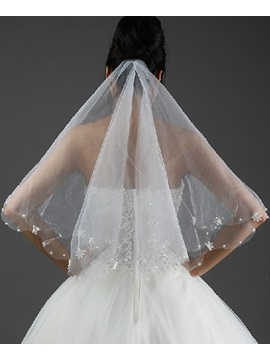 Wonderful Fingertip Wedding Bridal Veil with Beads Edge