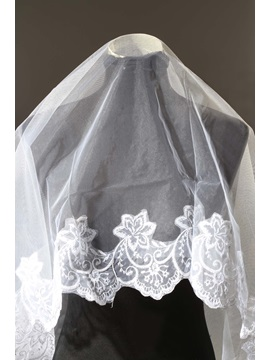 Delicate Waltz White Wedding Bridal Veil Appliques Edge