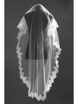Chapel White Lace Wedding Bridal Veil