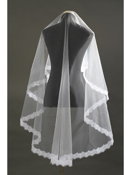 Waltz Length White Lace Edge Wedding Veil