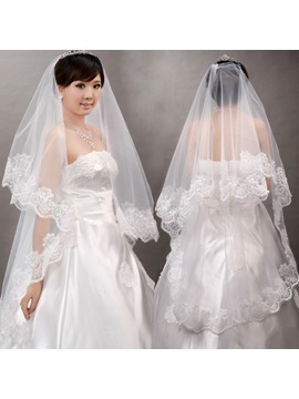 Attractive Waltz Length White Tulle Wedding Veil