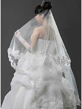 Remarkable Waltz Length Lace Trim Edge White Tulle Wedding Veil