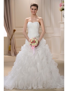 Pretty Sheath/Column Sleeveless Sweetheart Floor-length Chapel Ruffles Wedding Dress