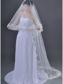 Chapel Wedding Bridal Veil with Lace Appliques Edge