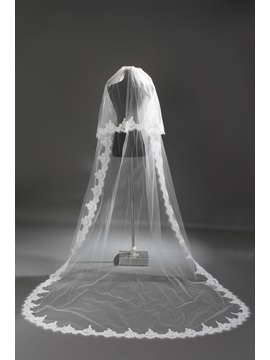 Glamorous2 Layer Cathedral Length Ivory Lace Wedding Veil