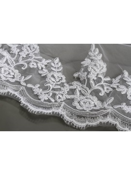 Faddish Cathedral Length White Lace With Comb Wedding Veil