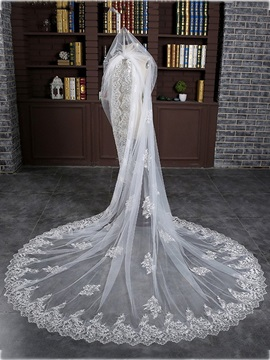 High Quality Appliques Bridal Cathedral Veil