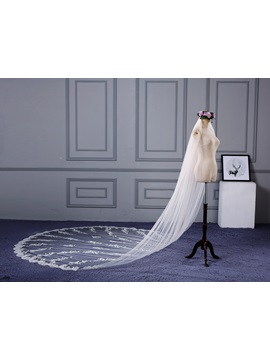 Charming One Layer Appliques Cathedral Wedding Veil