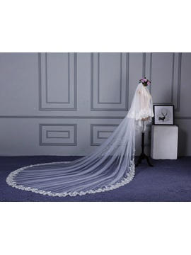 Wonderful Appliques Edge Two-Layer Wedding Veil