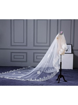 Delicate One Layer Appliques Wedding Veil