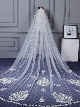 Exqusite One-Layer Appliques Wedding Veil