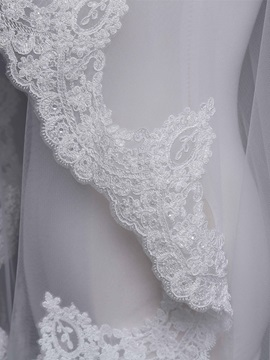 One-Layer Cathedral Applique Edge Wedding Veil