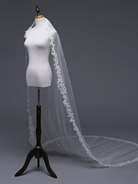 Cathedral Applique Edge One-Layer Wedding Veil