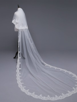 Cathedral Applique Edge Two-Layer Wedding Veil