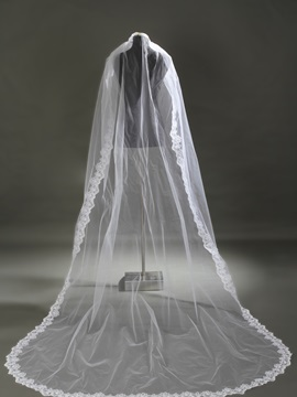 Lace Edge Appliques One-Layer Wedding Veil