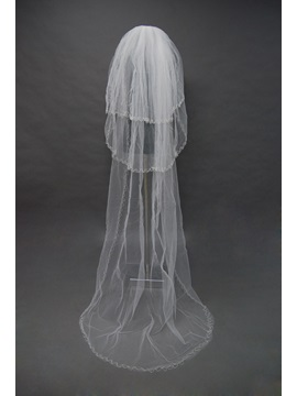 Delicate Tidebuy Three-Layer Cathedral Wedding Bridal Veil with Beaded Edge