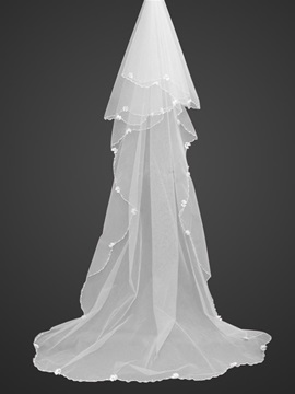 Beautiful Roman Style Cathedral Wedding Veil With Bead Edge