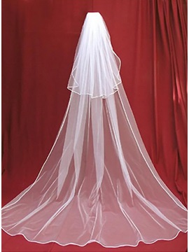 Simple 2 Layers Cathedral Length White Tulle Wedding Veil