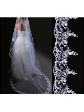 Spectacular Cathedral Length White Appliques Edge Wedding Veil
