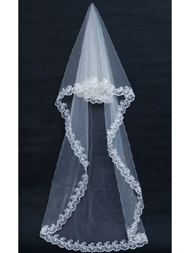 Extravagant Cathedral Length White Lace Wedding Veil