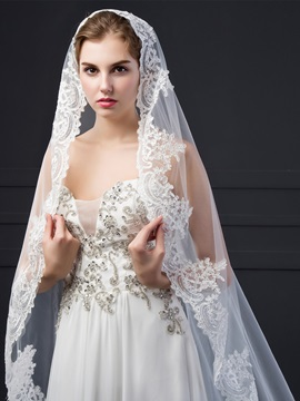 Fair Applqiues Edge Tulle Wedding Cathedral Veil