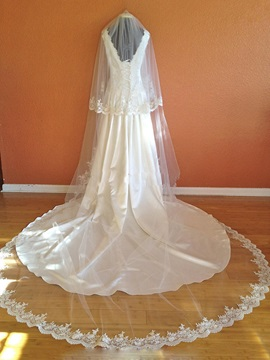 Elegant Appliqued Edge Wedding Veil